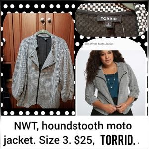 NWT, Torrid size 3, cropped houndstooth blazer.